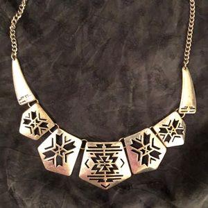 Silver Statement Necklace | Aztec Pattern